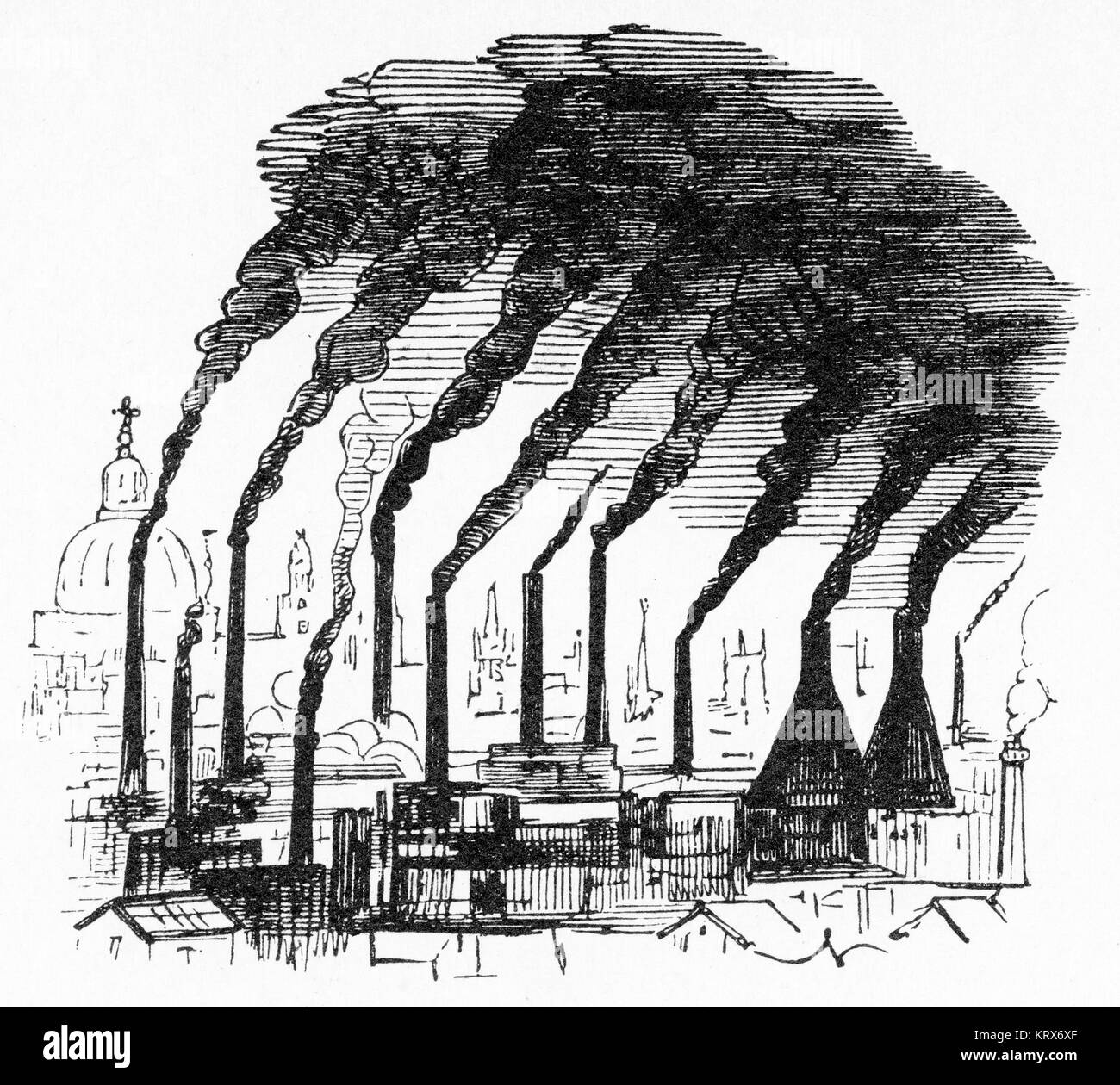 Engraving of Victorian England skyline in London with coal-burning factory chimney stacks, from Punch magazine - Stock Image