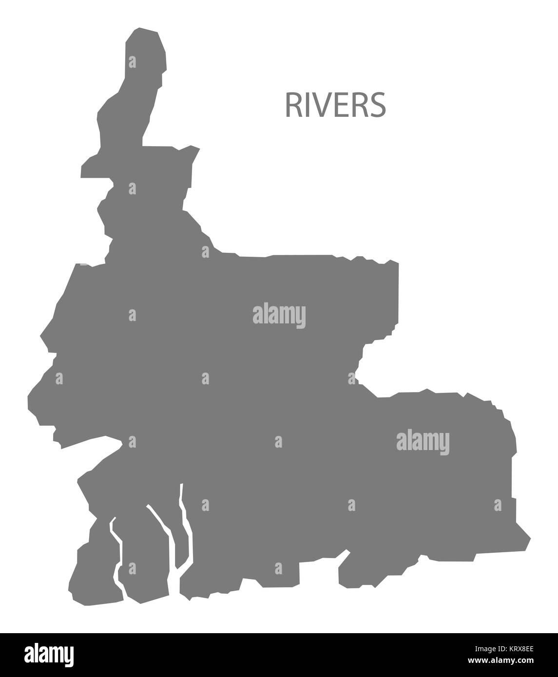 Rivers Nigeria Map grey - Stock Image