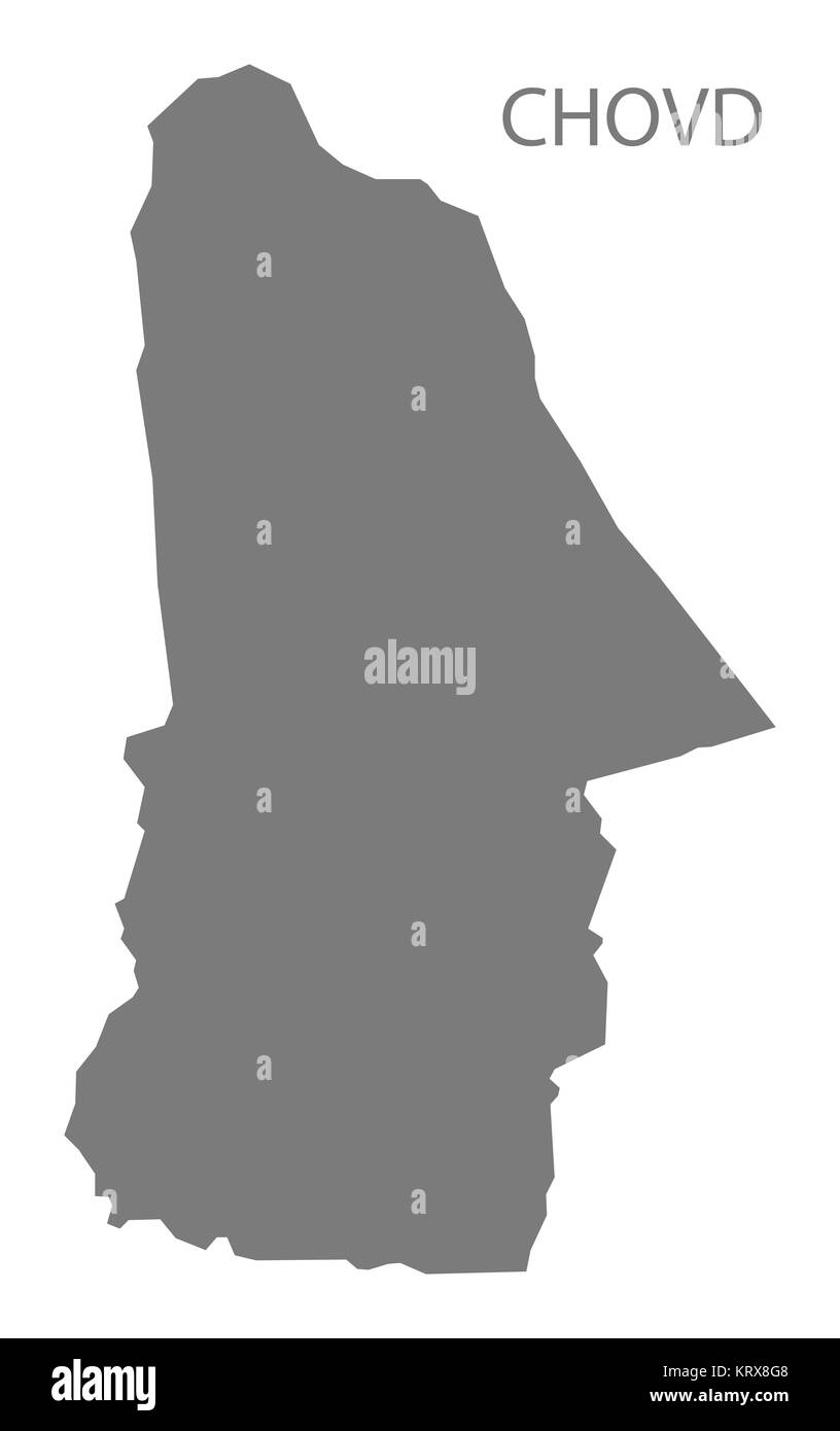 Chovd Mongolia Map grey - Stock Image