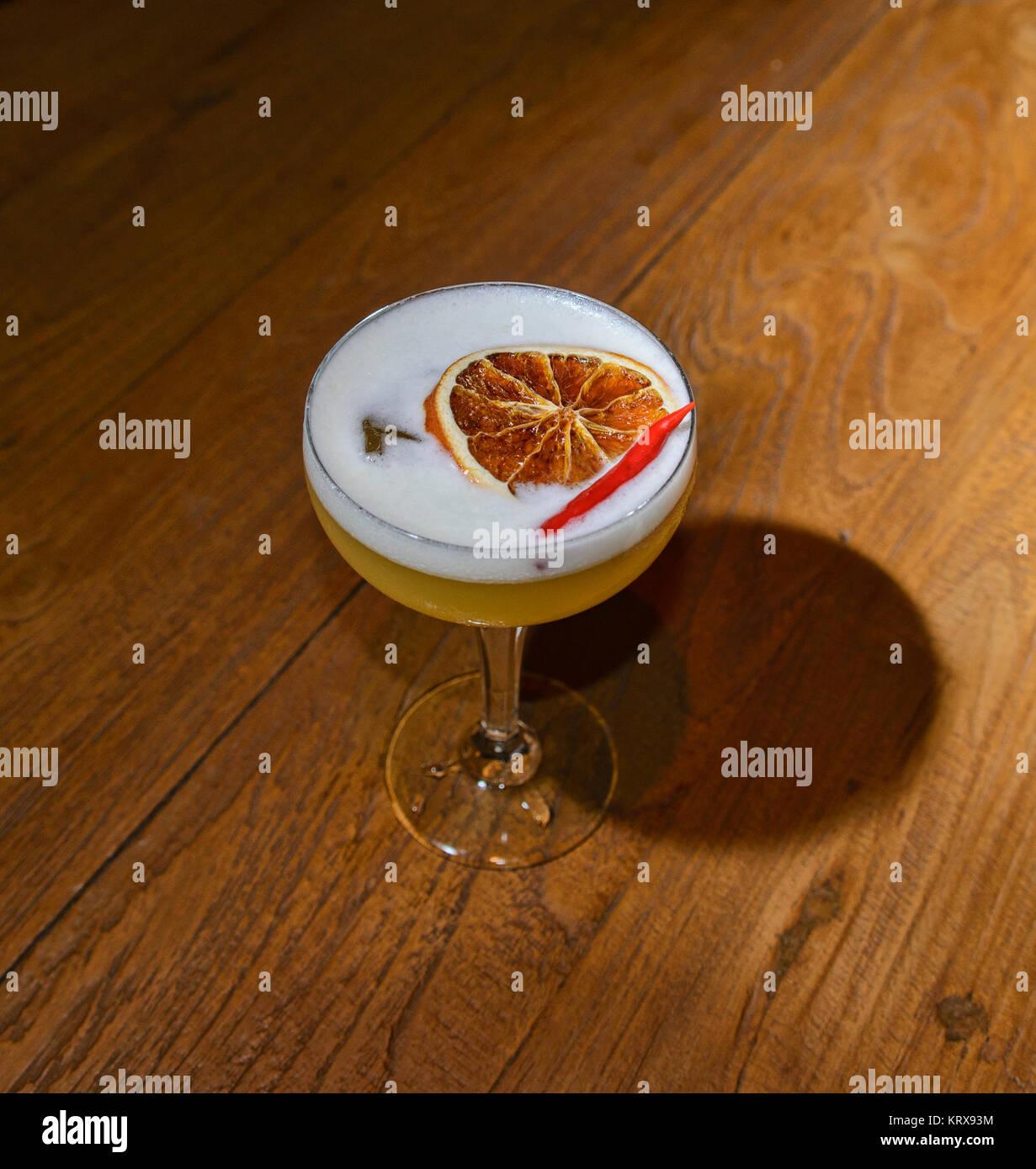 Spicy cocktail at a bar in Bangkok, Thailand - Stock Image