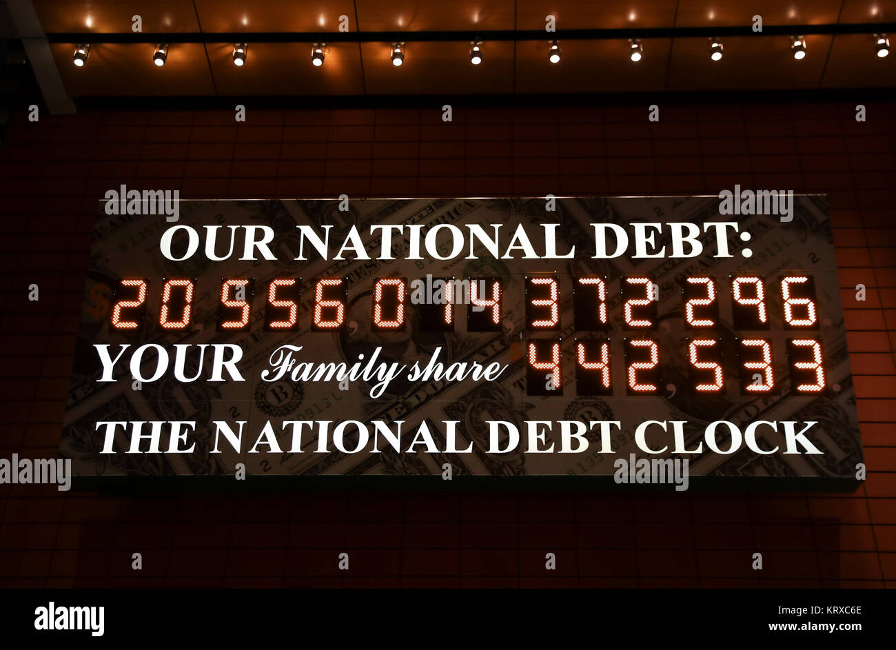 New York, USA. 20th Dec, 2017. Photo taken on Dec. 20, 2017 shows the National Debt Clock in Manhattan of New York - Stock Image