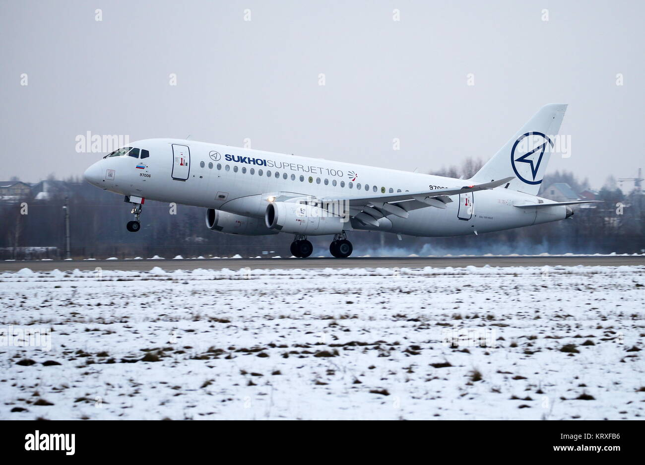Moscow Region, Russia. 21st Dec, 2017. A Sukhoi Superjet 100 aircraft with the newly installed horizontal winglets - Stock Image