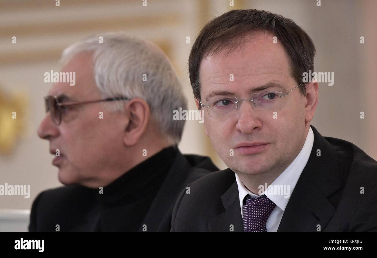 Moscow, Russia. 21st Dec, 2017. Russian Culture Minister Vladimir Medinsky, right, and General Director of Mosfilm - Stock Image