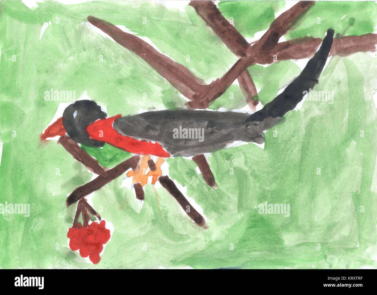 A child drawing of bird sitting on branch of Rowan - Stock Image