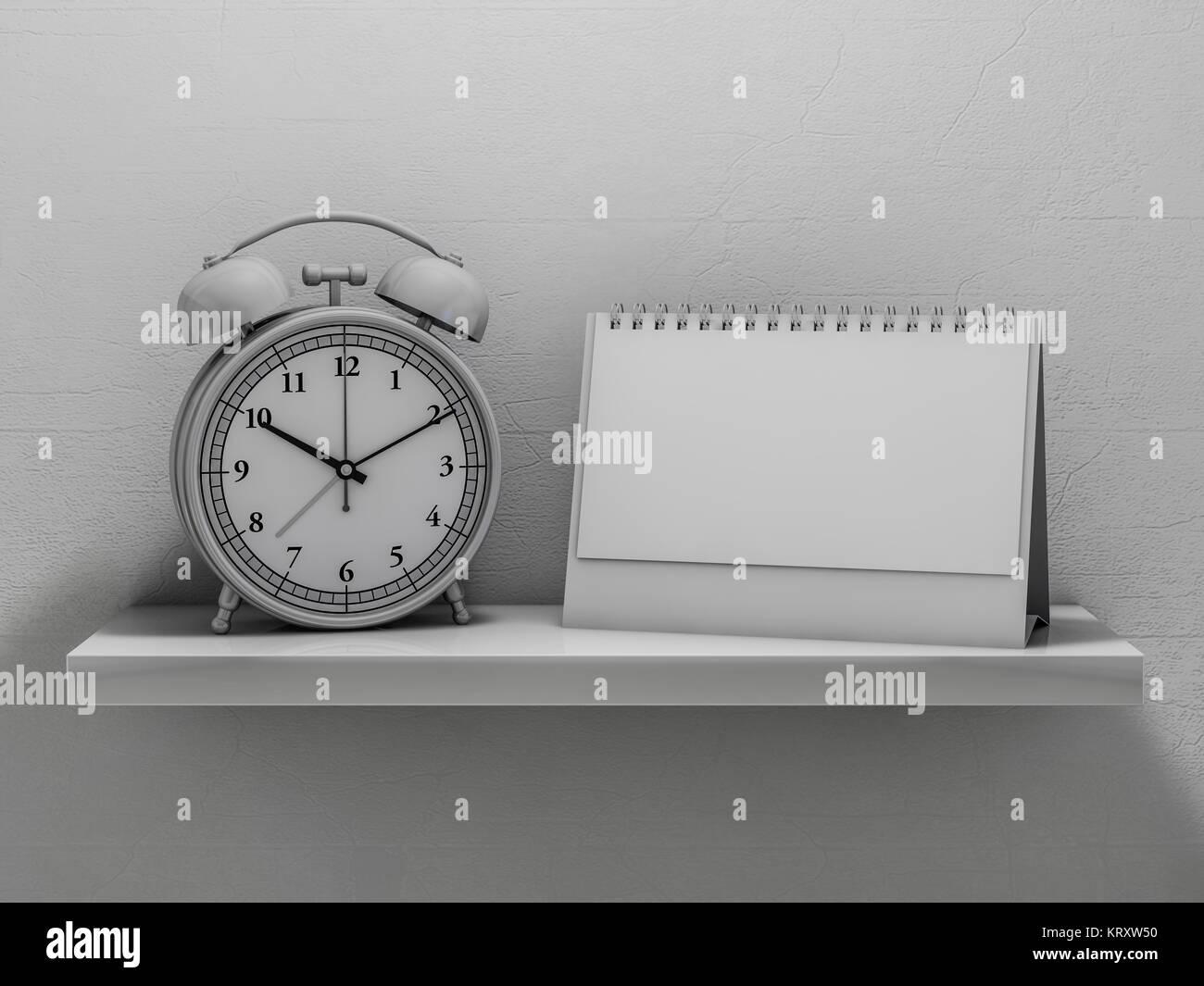 Blank calendar on the shelf. 3D rendering - Stock Image