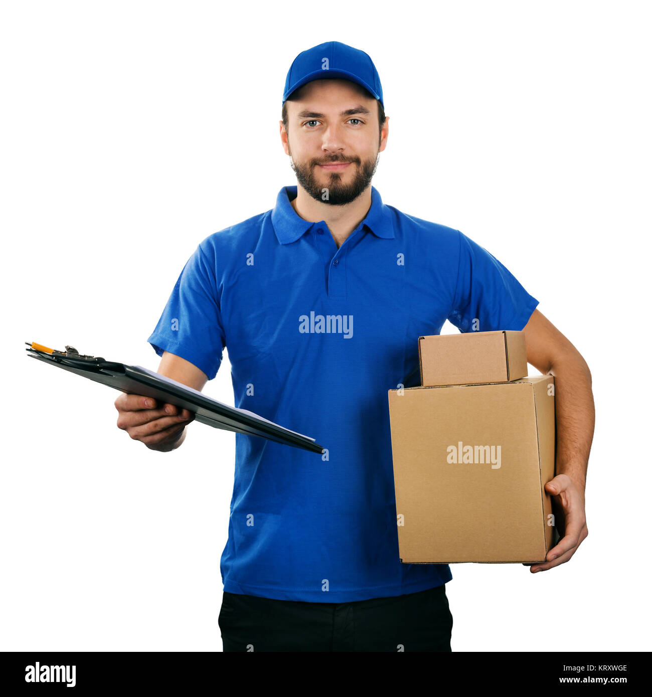 deliveryman with boxes and clipboard isolated on white background - Stock Image