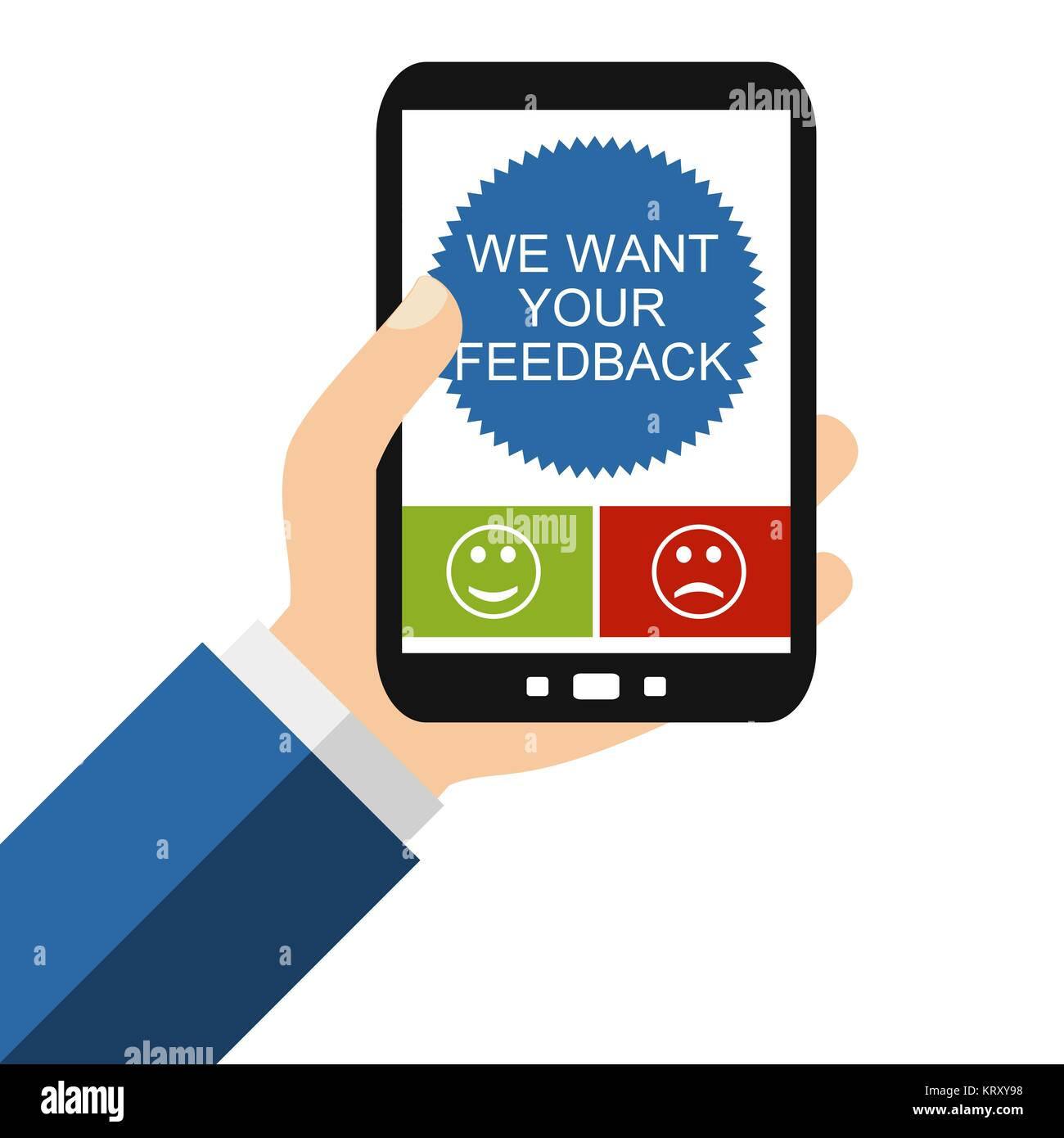we want your feedback on the smartphone - Stock Image