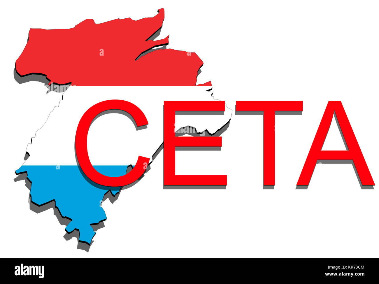 ceta - comprehensive economic and trade agreement,luxembourg map on white background - Stock Image