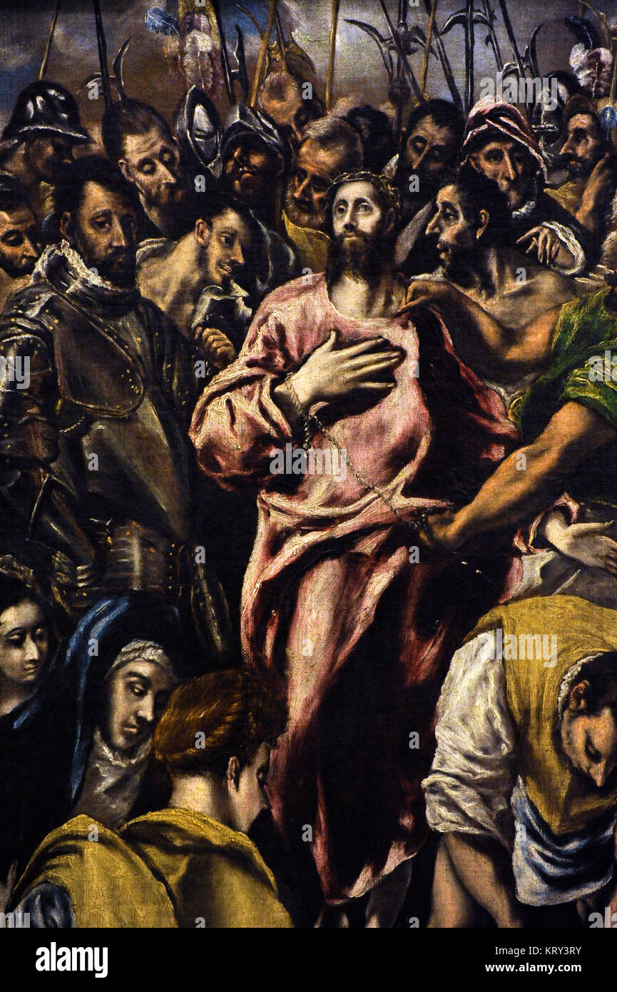 El Greco (1541-1614). Cretan painter. Jesus Christ Stripped of his Garments. Detail. National Gallery. Oslo. Norway. - Stock Image