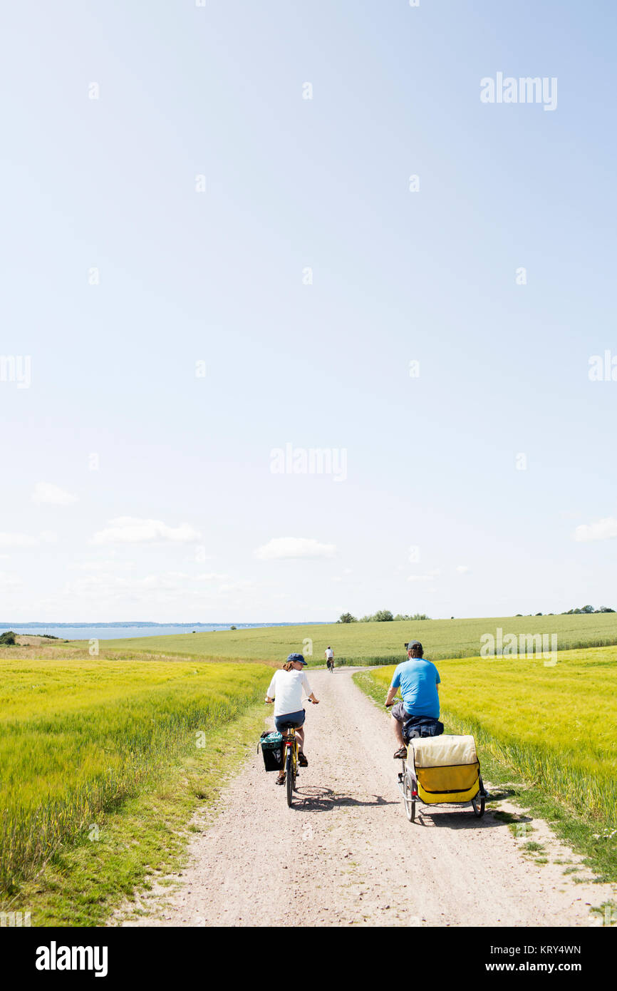A family cycling - Stock Image