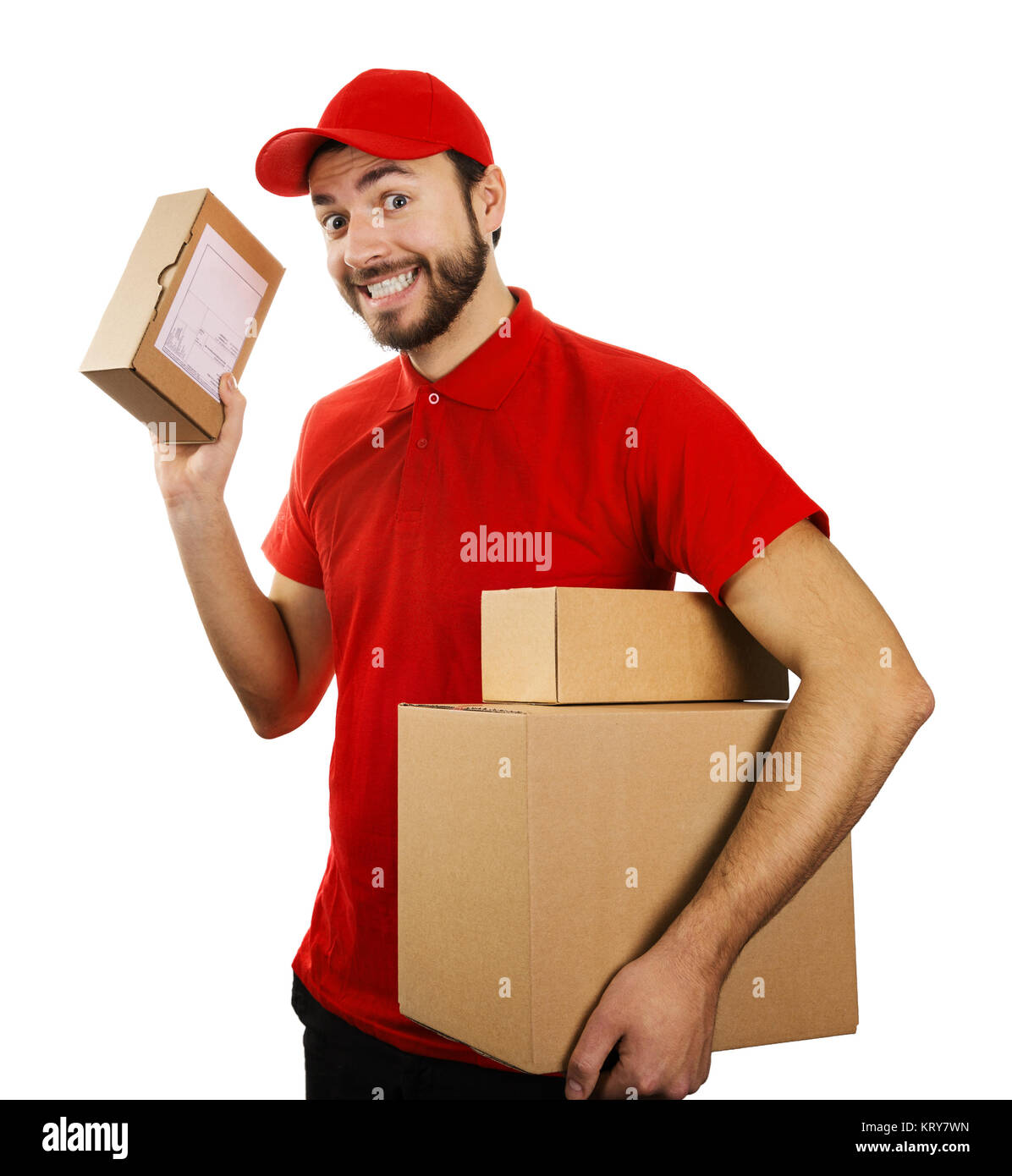 funny delivery service man with boxes isolated on white background - Stock Image