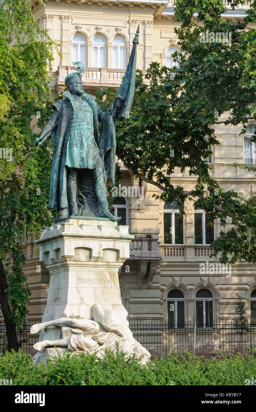 Statue of Miklós Zrínyi (1508–1566), Defender of the Kingdom of Hungary against the Ottomans - Budapest, Hungary Stock Photo