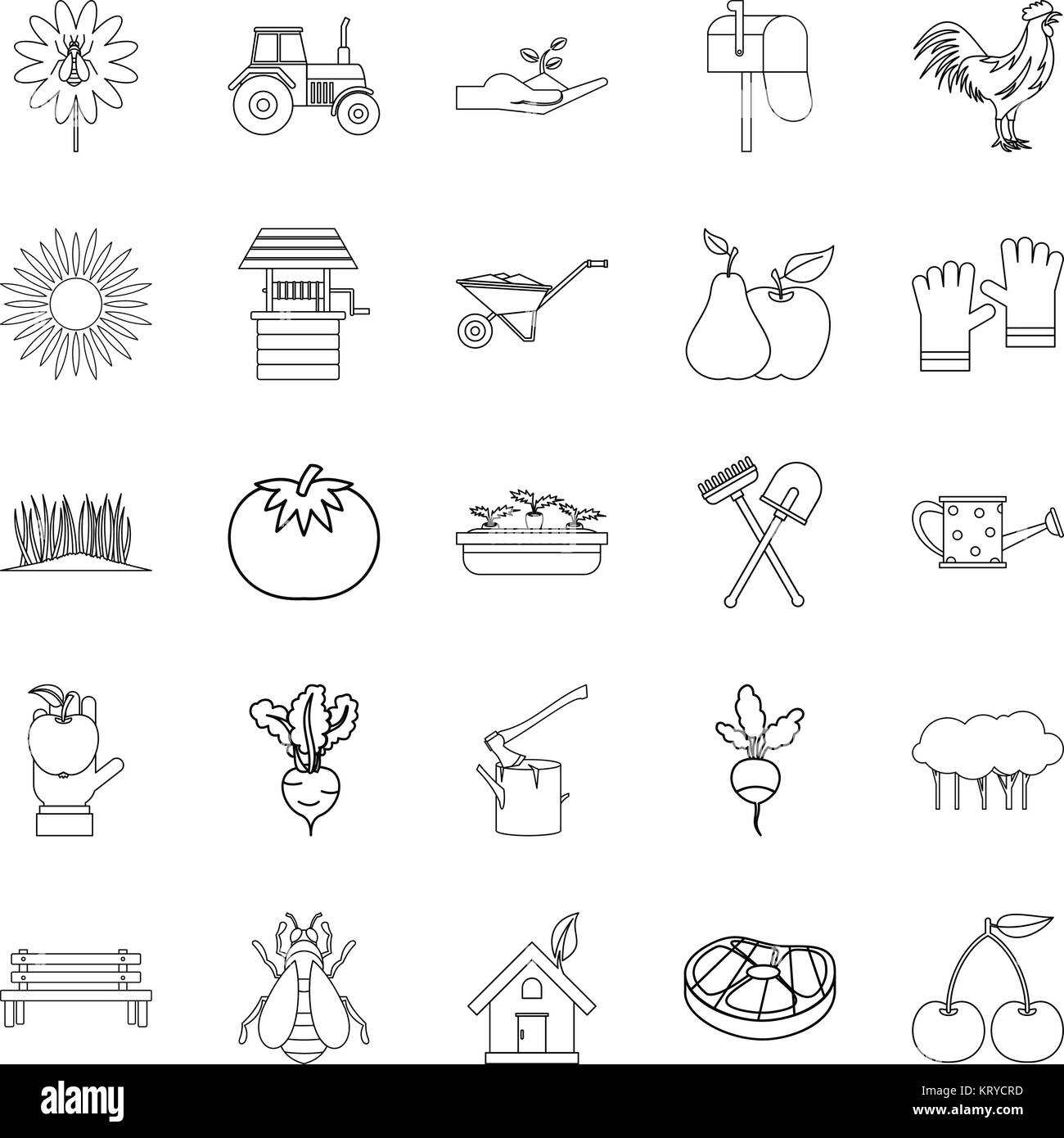 Hamlet icons set, outline style - Stock Vector