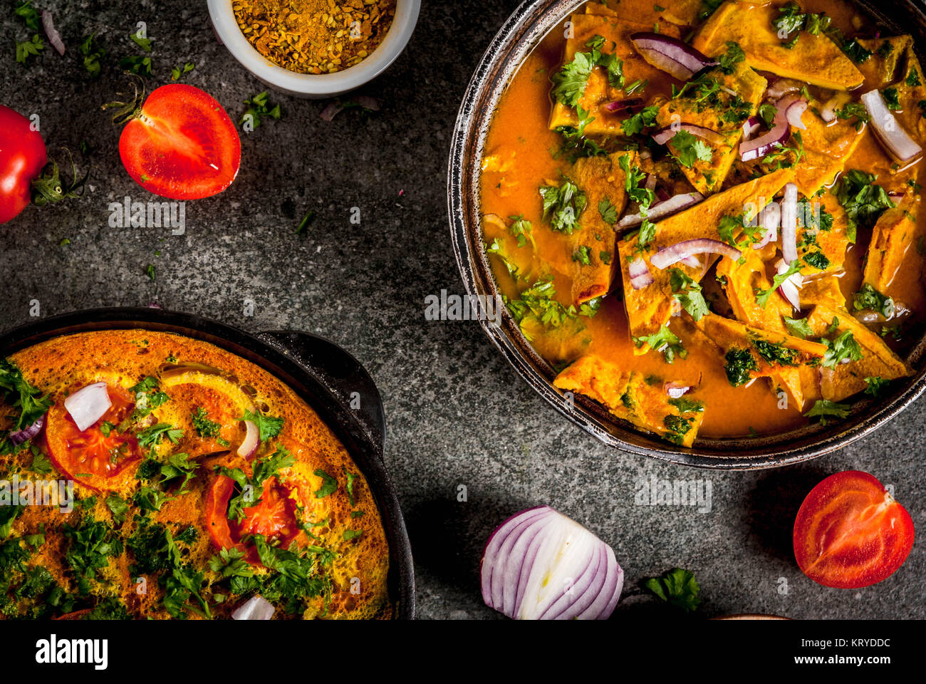 Indian food recipes, Masala Omelette with and Indian Omelet Masala Egg Curry, with fresh vegetables - tomato, hot Stock Photo