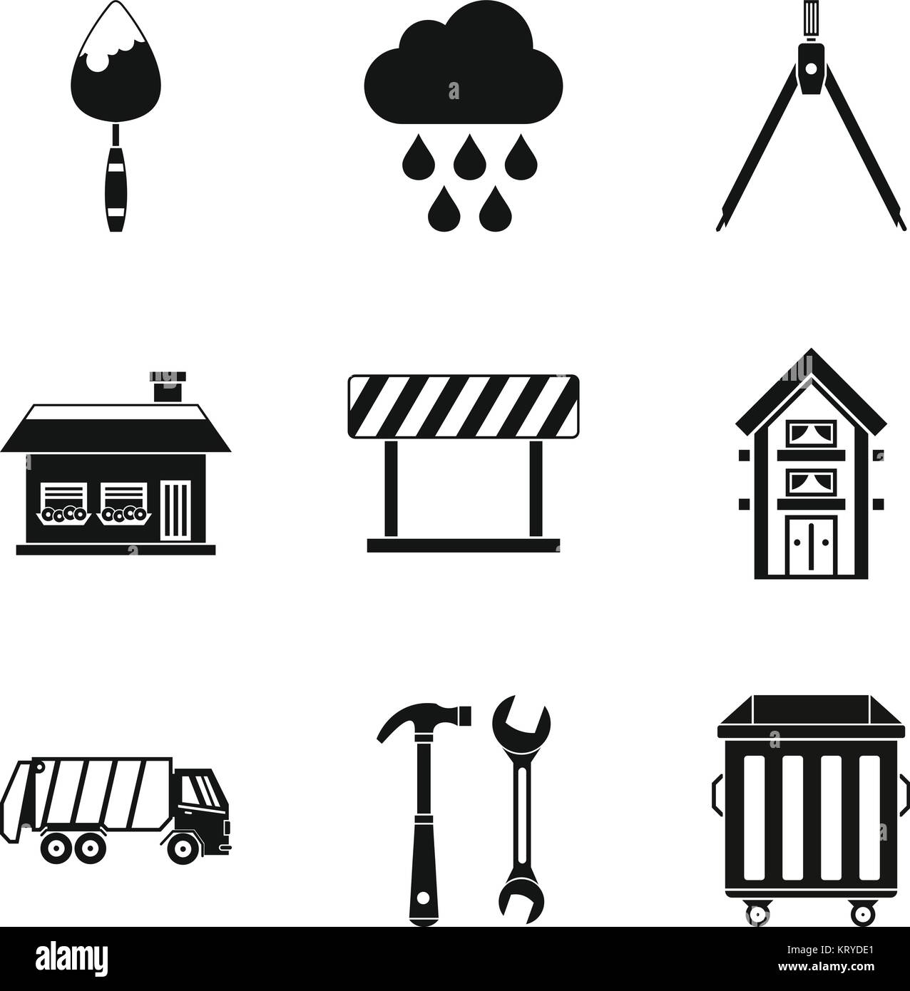 Construction project icons set, simple style Stock Vector