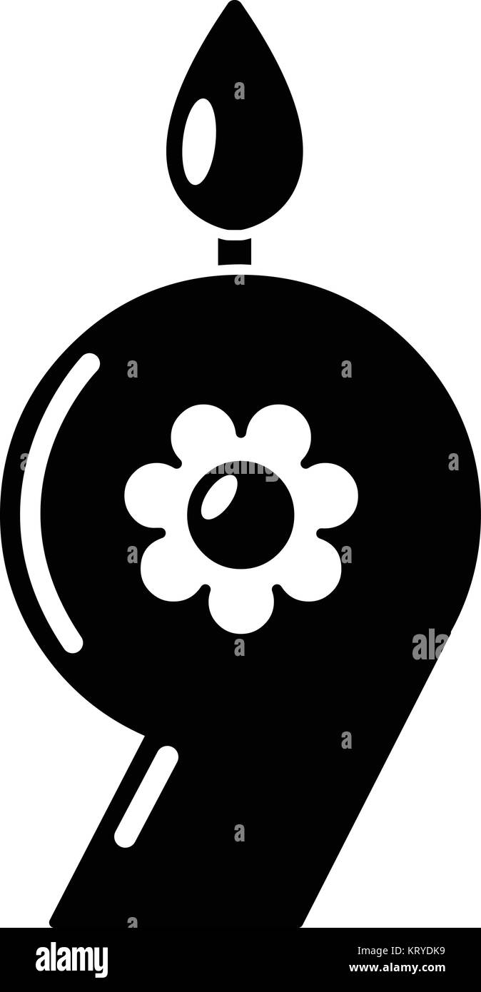 Candle numeral icon, simple black style - Stock Image
