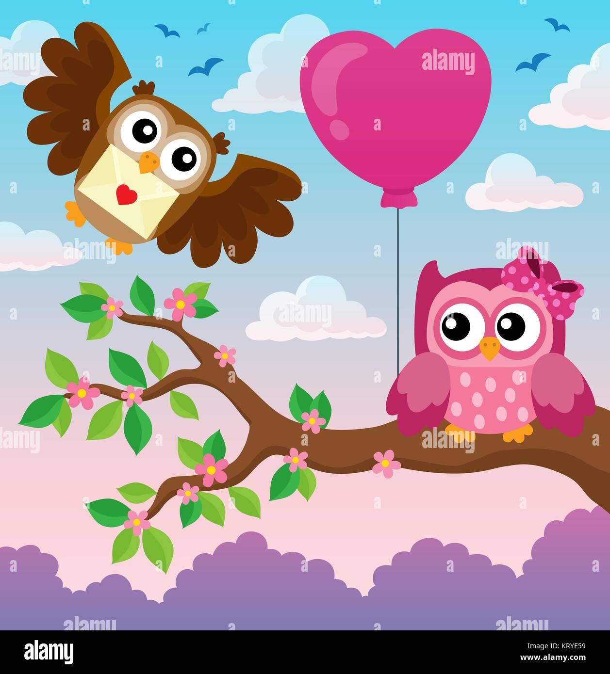 Valentine owls theme image 4 - Stock Image