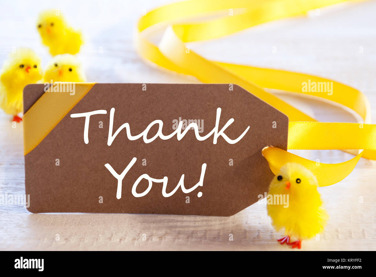 label with english text thank you  easter decoration like chicks stock photo  169635286