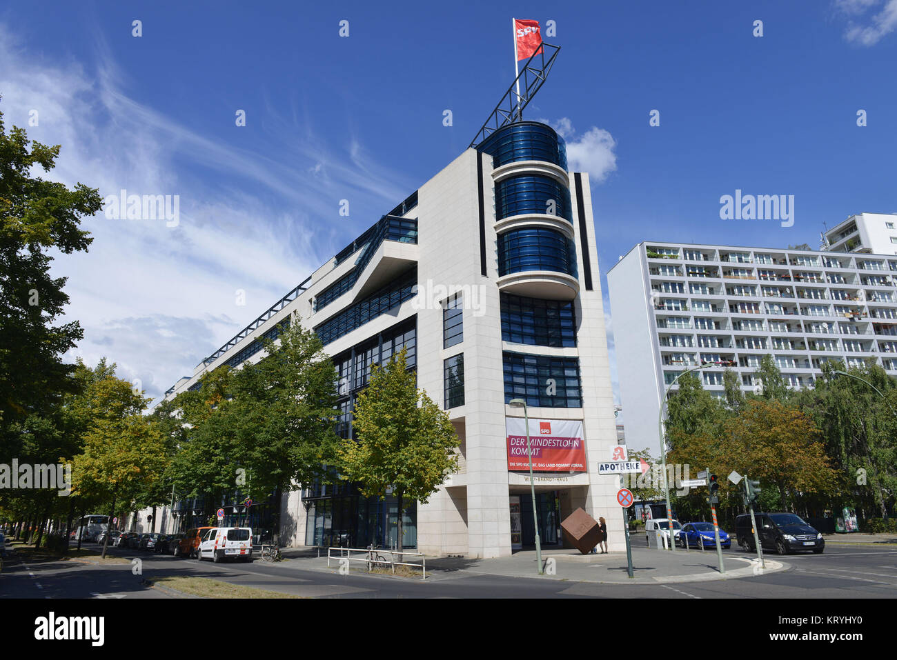SPD headquarters, Wilhelmstrasse, cross mountain, Berlin, Germany, SPD-Zentrale, Kreuzberg, Deutschland - Stock Image