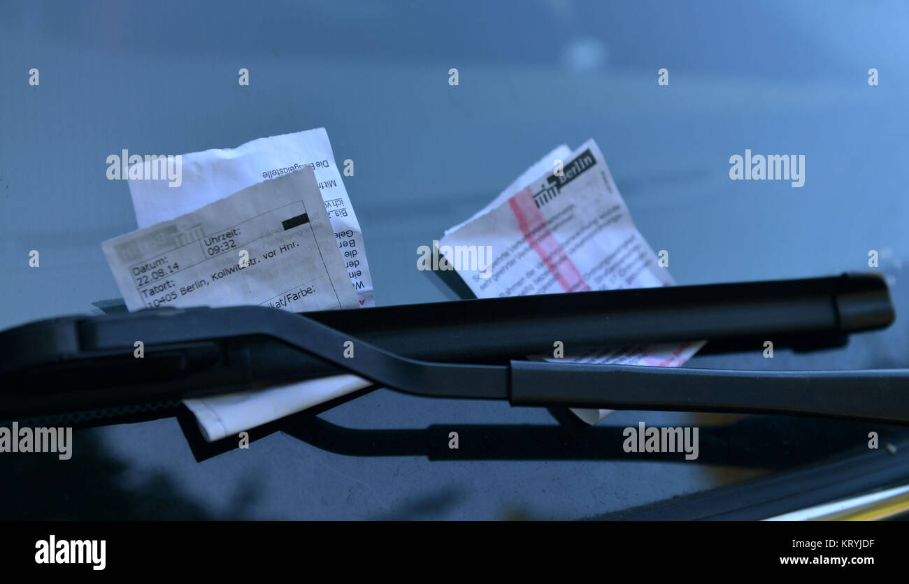 Parking tickets, Berlin, Germany / parking ticket, Knoellchen, Deutschland / Knöllchen Stock Photo