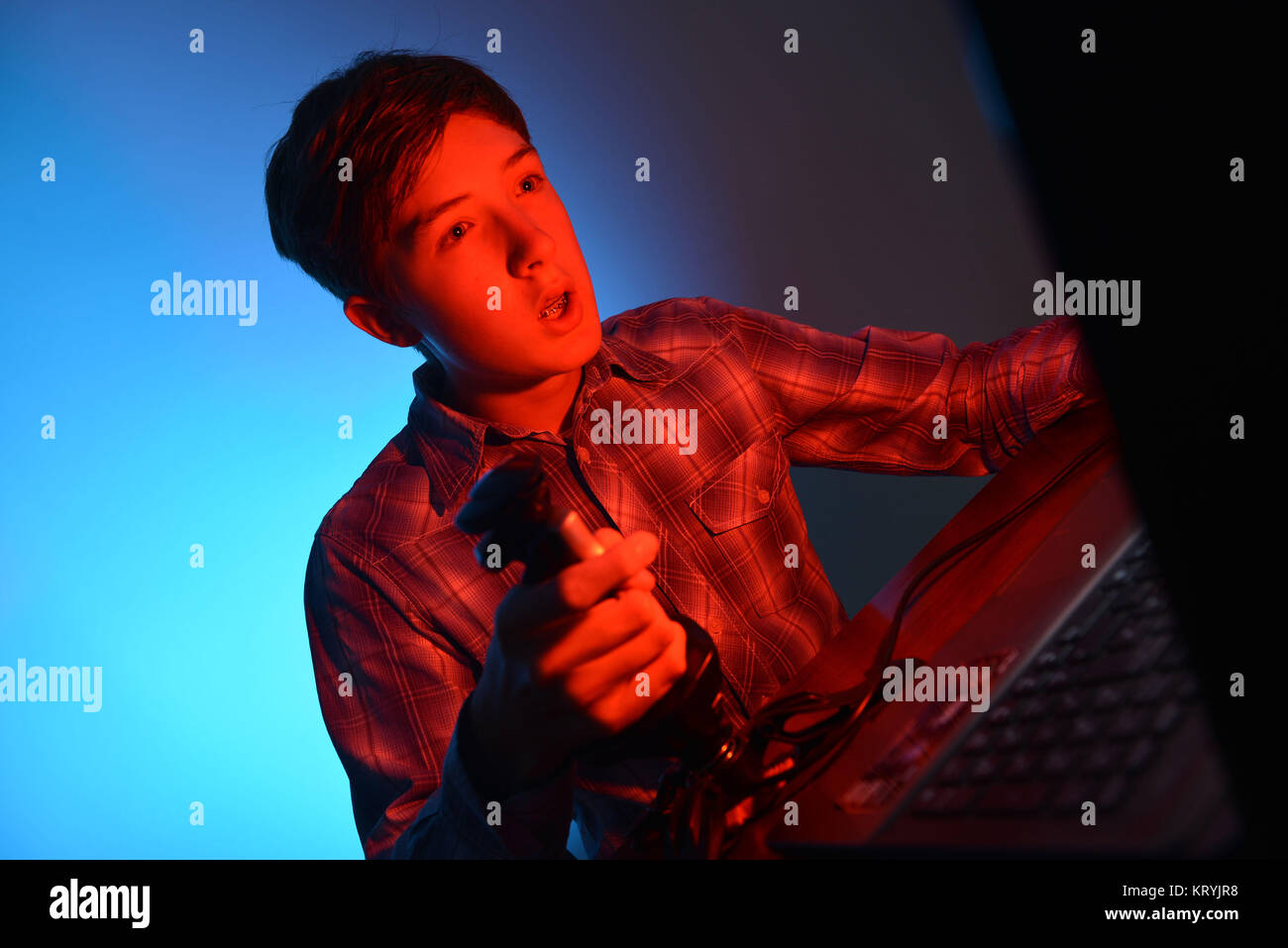 Youngster, computer, play, Jugendlicher, Computer, Spiel - Stock Image