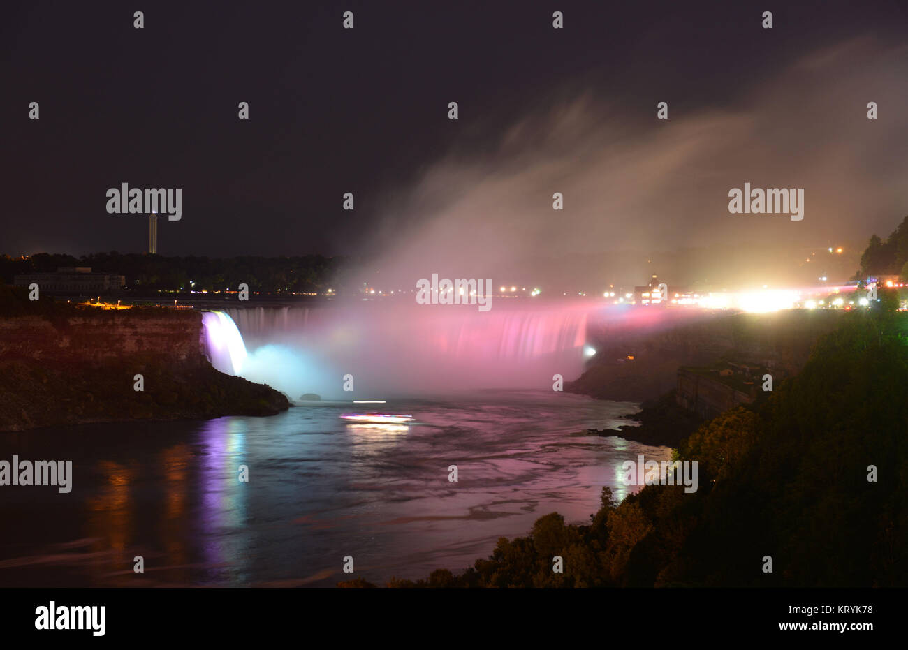 Illumination, Horseshoe of case, Niagarafaelle, Ontario, Canada / Niagaraf?lle, ´Horseshoe Falls´, Kanada - Stock Image