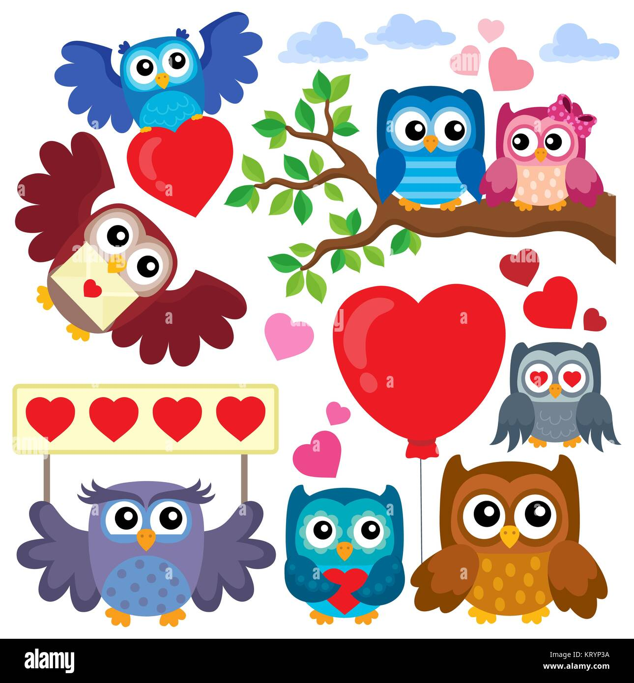 Valentine owls theme collection 1 - Stock Image
