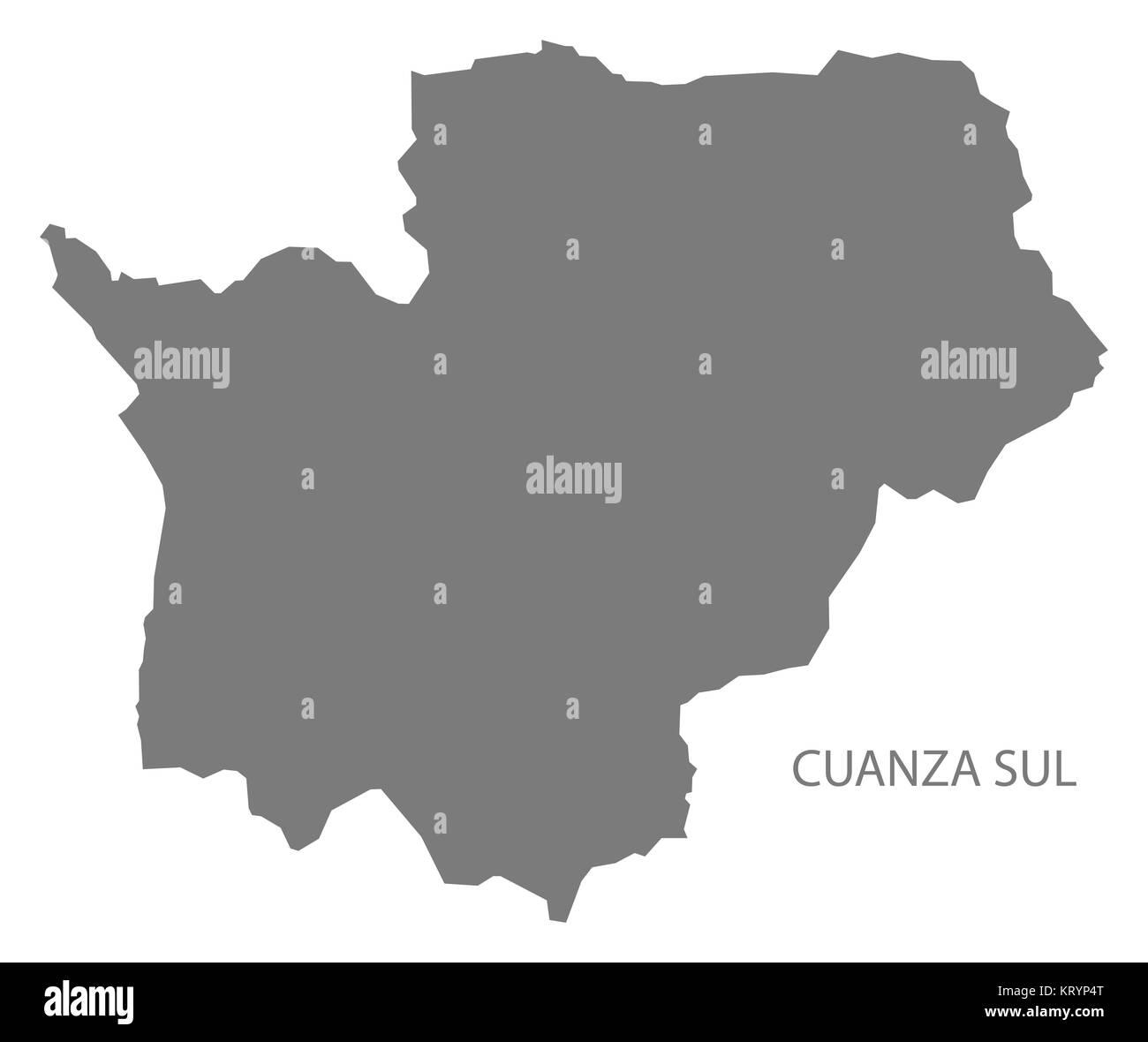 Cuanza Sul Angola Map grey Stock Photo
