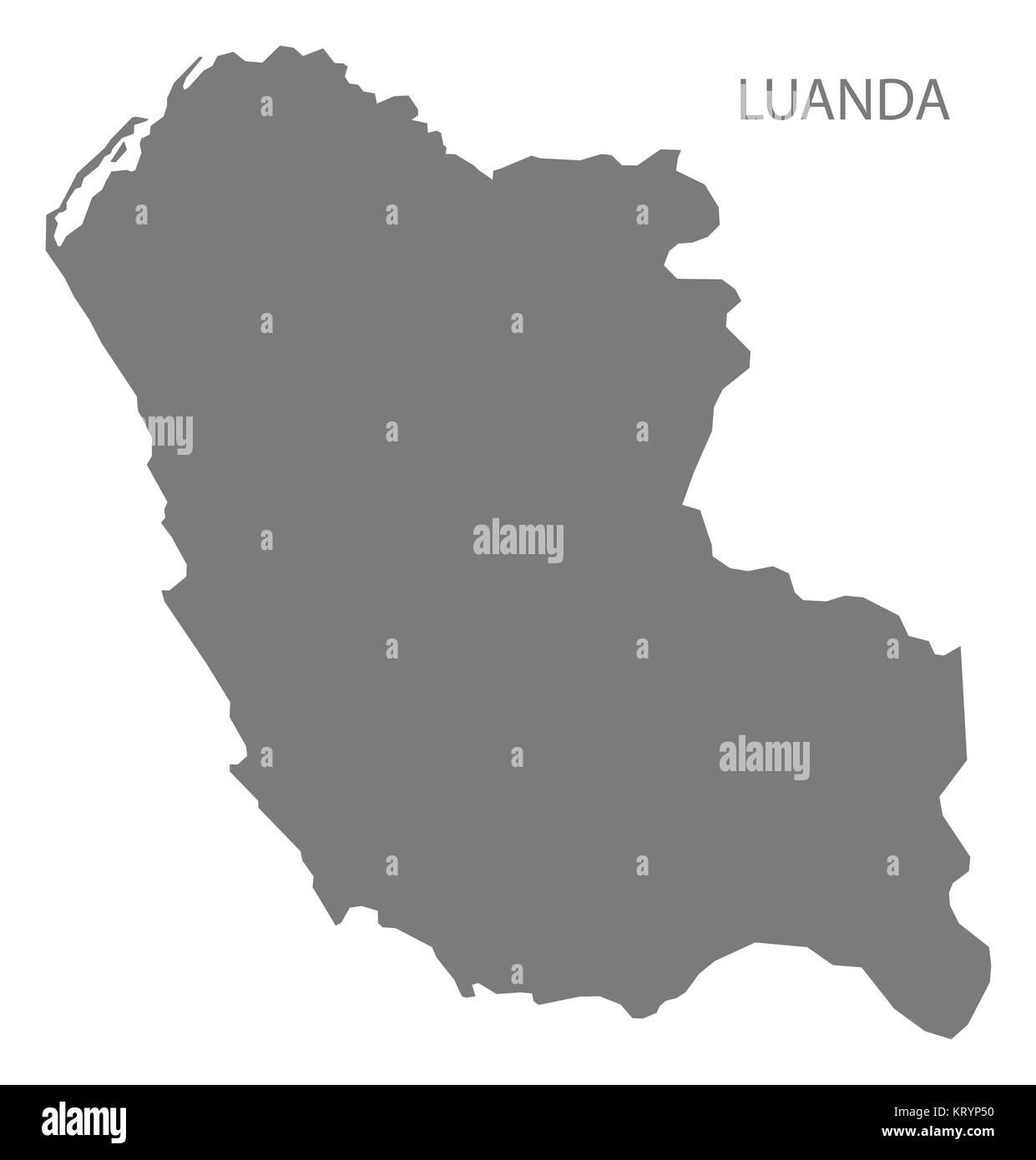 Luanda Angola Map grey - Stock Image