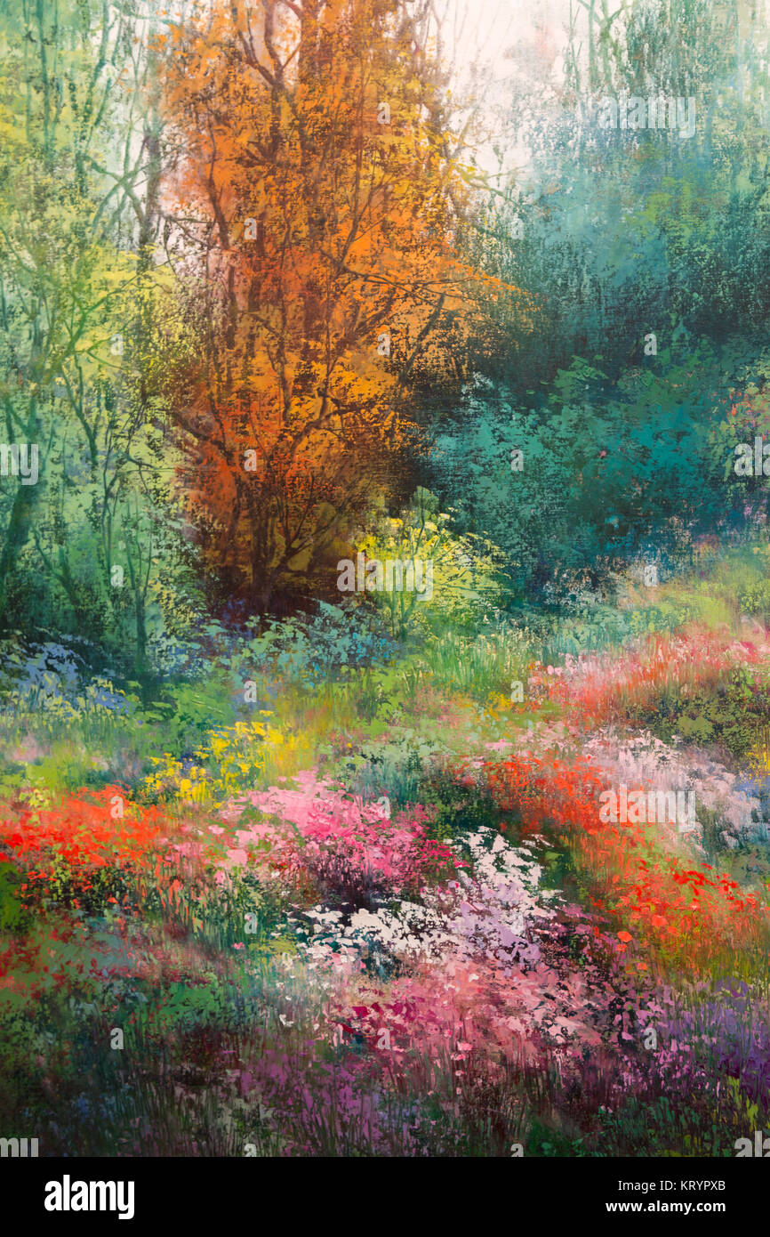 Oil Canvas Painting: Spring Meadow with Colorful Flowers and Trees ...