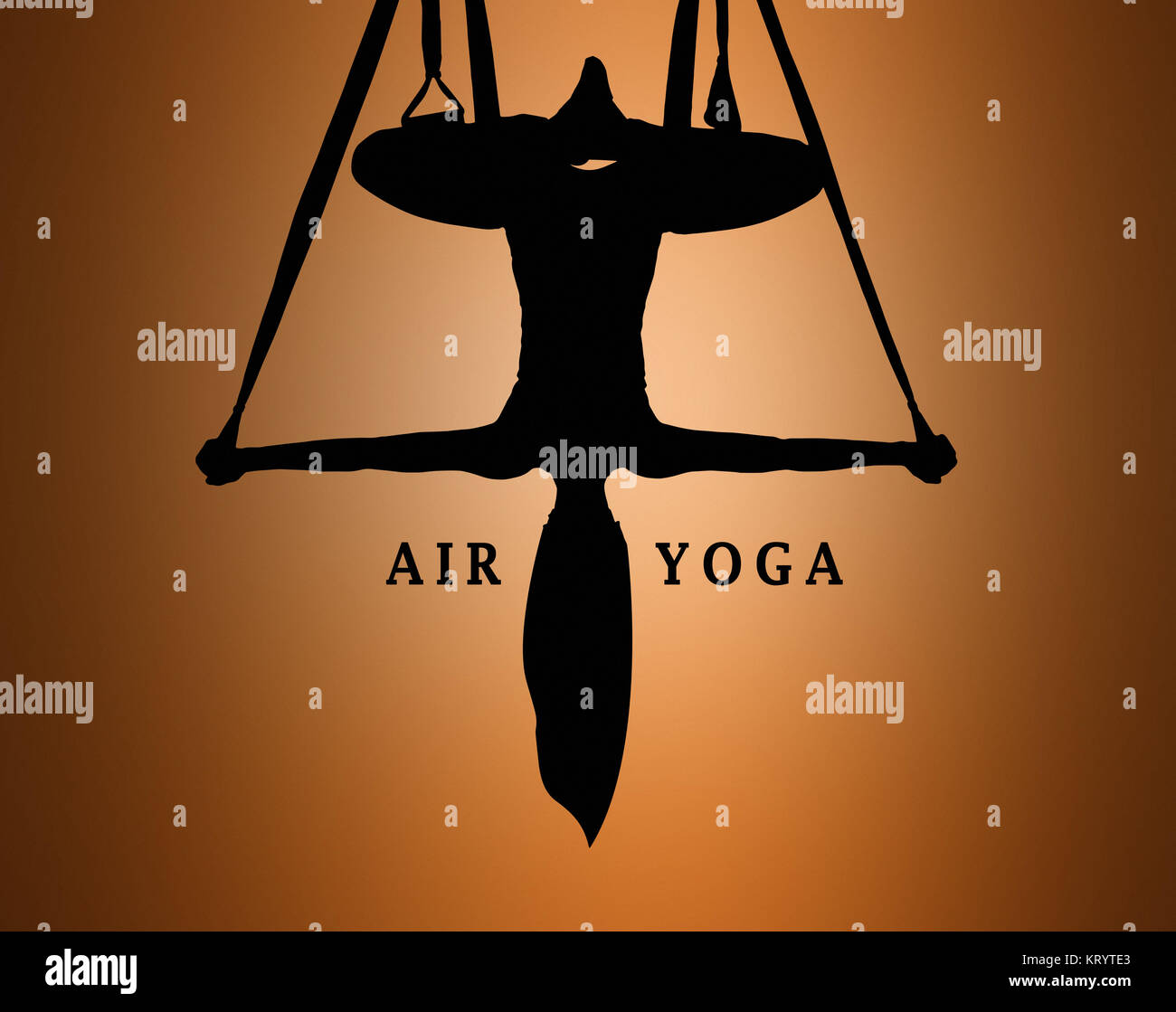 The silhouette of Young woman doing anti-gravity aerial yoga Stock Photo