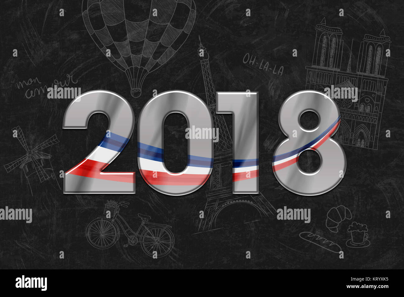 2018 new year greetings bonne annee meilleurs voeux stock image