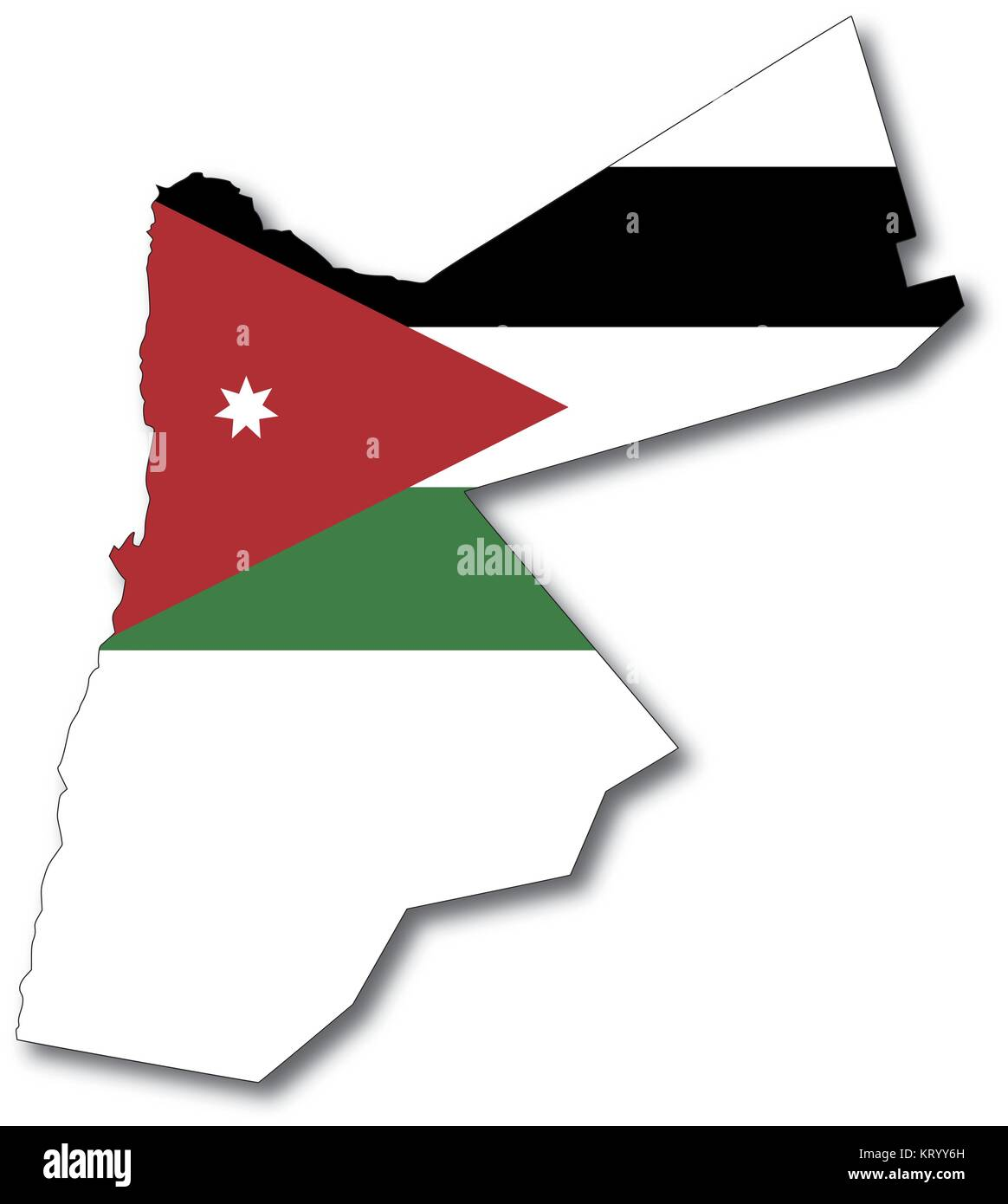vectorflag map of jordan, outline drawing with shadow - Stock Image