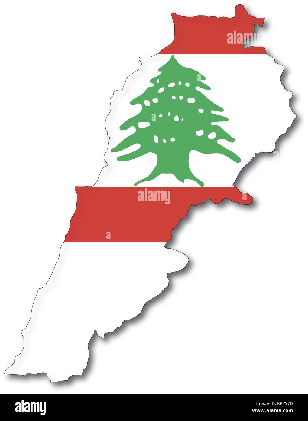 vectorflag map of lebanon, outline drawing with shadow - Stock Image