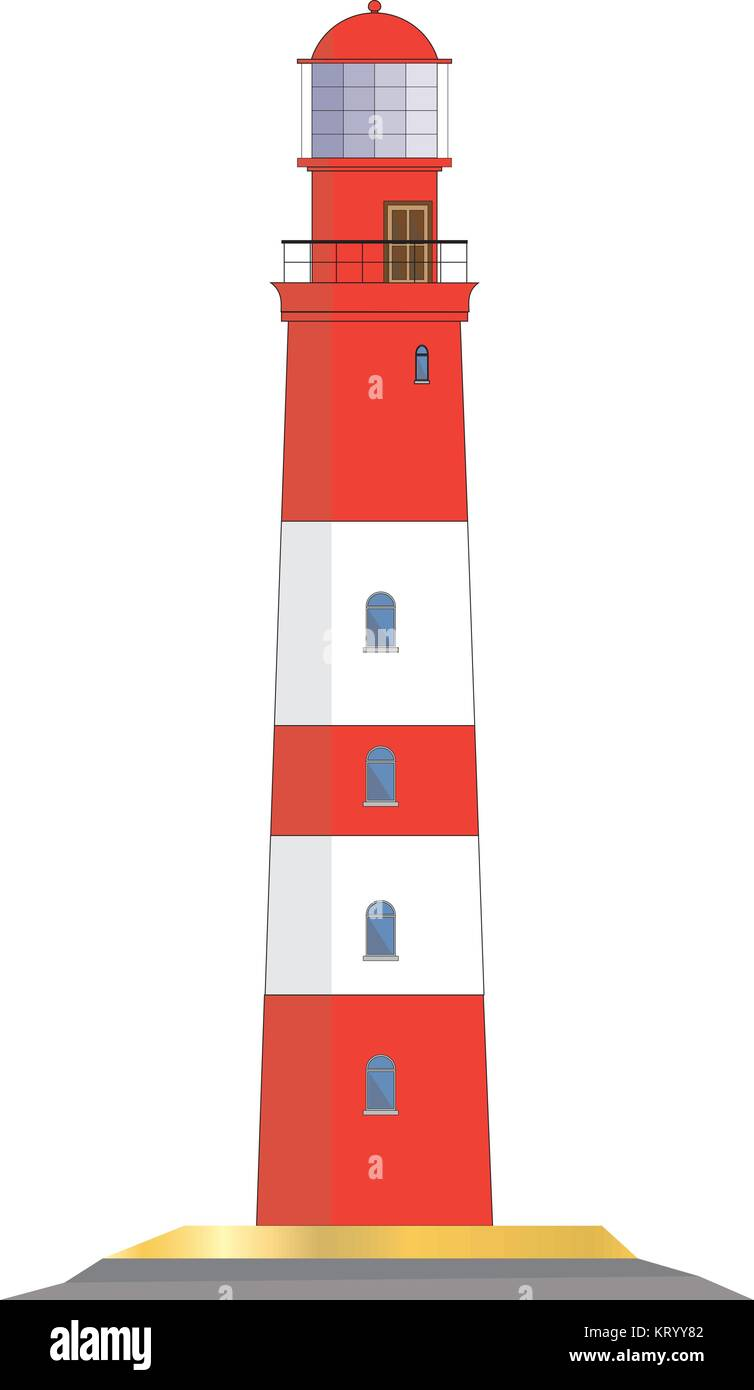 lighthouse vector graphic isolated on white background - Stock Vector