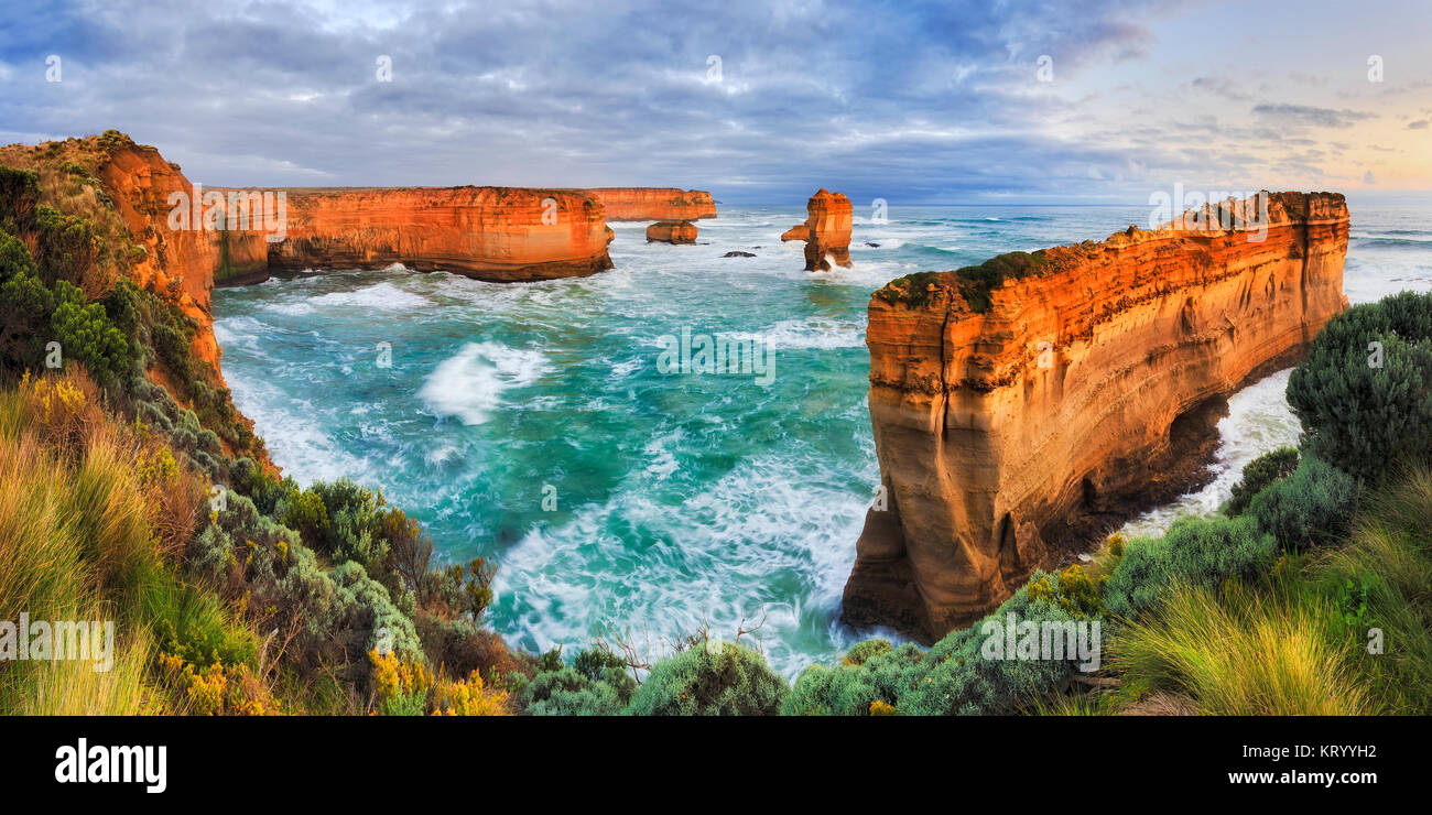 Twelve apostles marina park on Great Ocean road view towards razorback thin limestone rock cut off shipwreck coast - Stock Image