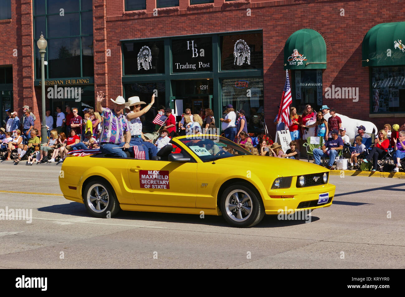 Cody, Wyoming, USA - July 4th, 2009 - Then Wyoming secretary of state Max Maxfield with his wife Gayla Maxfield - Stock Image