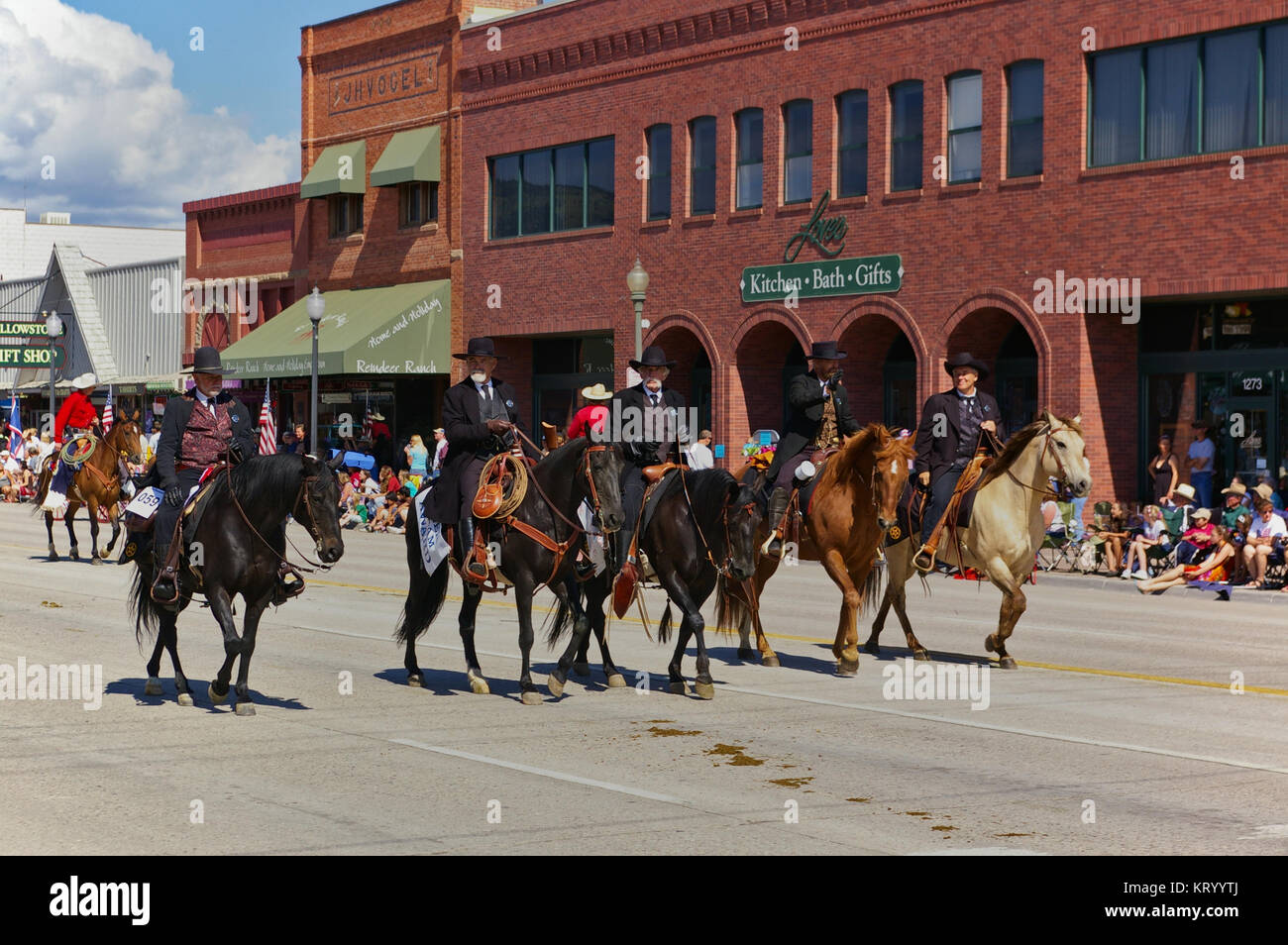 Cody, Wyoming, USA - July 4th, 2009 - Four riders dressed in black depicting Wyatt Earp, Virgil Earp, Morgan Earp - Stock Image