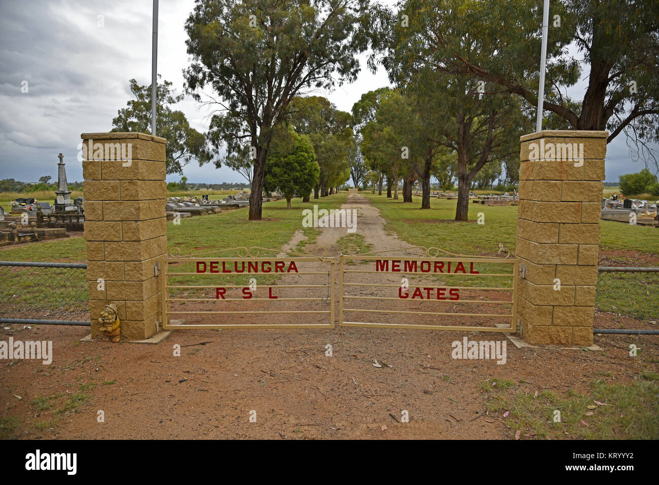 entrance gates to the Delungra RSL and memorial gates in new south wales, australia - Stock Image