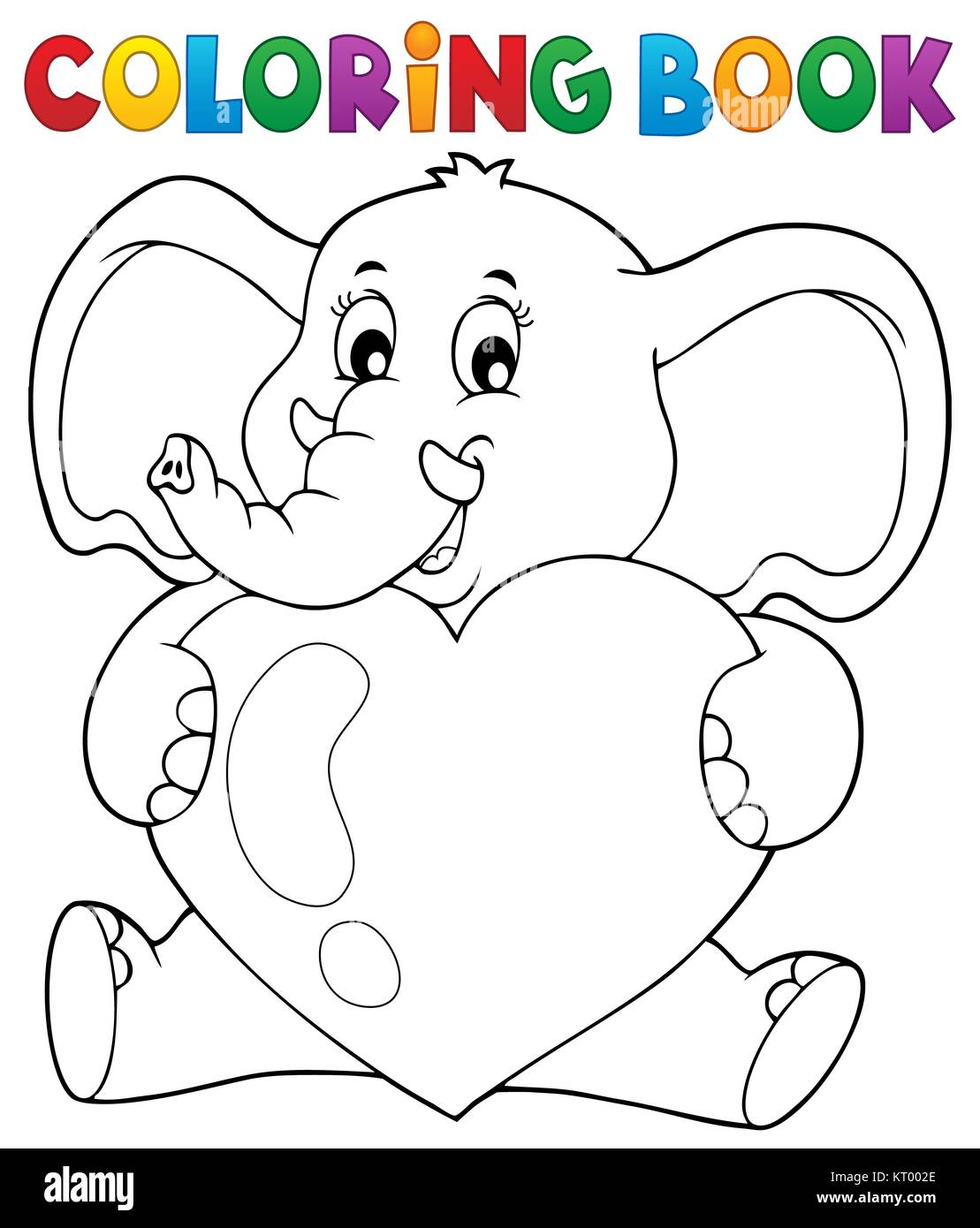 Coloring book elephant holding heart Stock Photo: 169645126 - Alamy