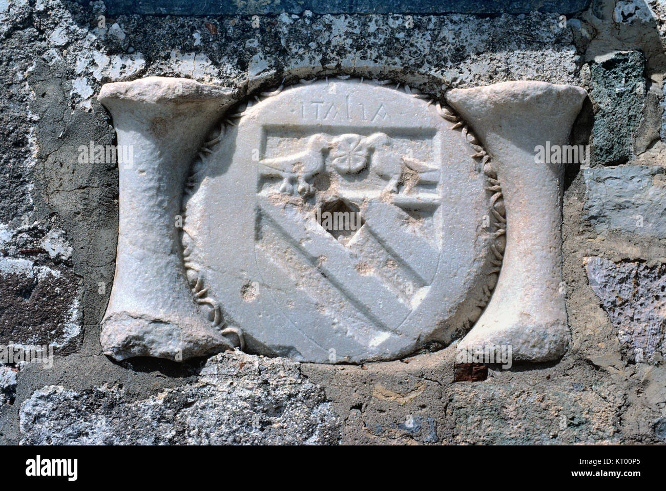 Italian Coat of Arms, on Knights of Saint John Crusader Castle, c15th, Bodrum, Turkey - Stock Image