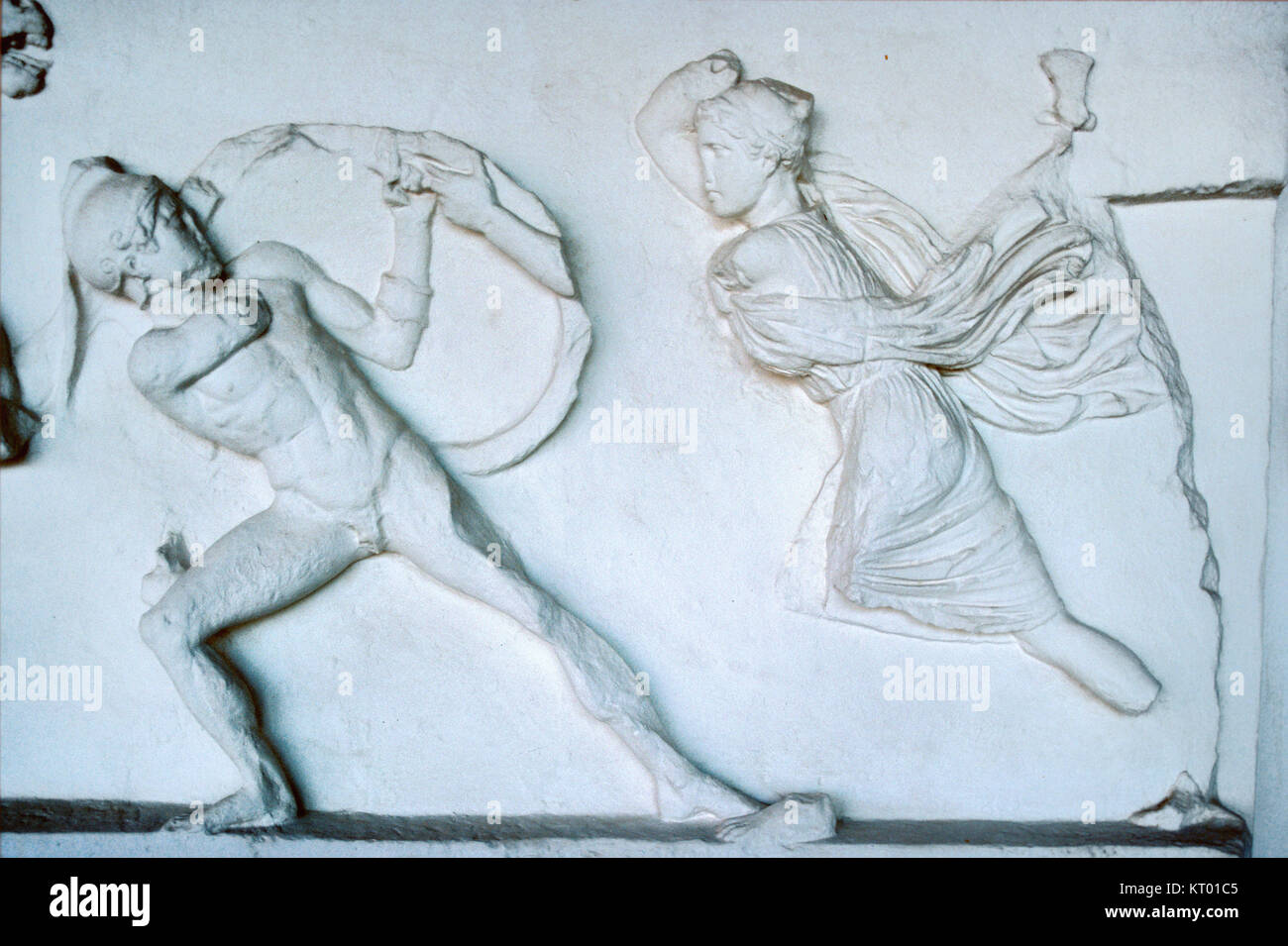 Amazon Frieze or Amazonomachy, Showing Battle Between Greeks and Amazons (353-350 BC) from the Mausoleum at Halicarnassus Stock Photo