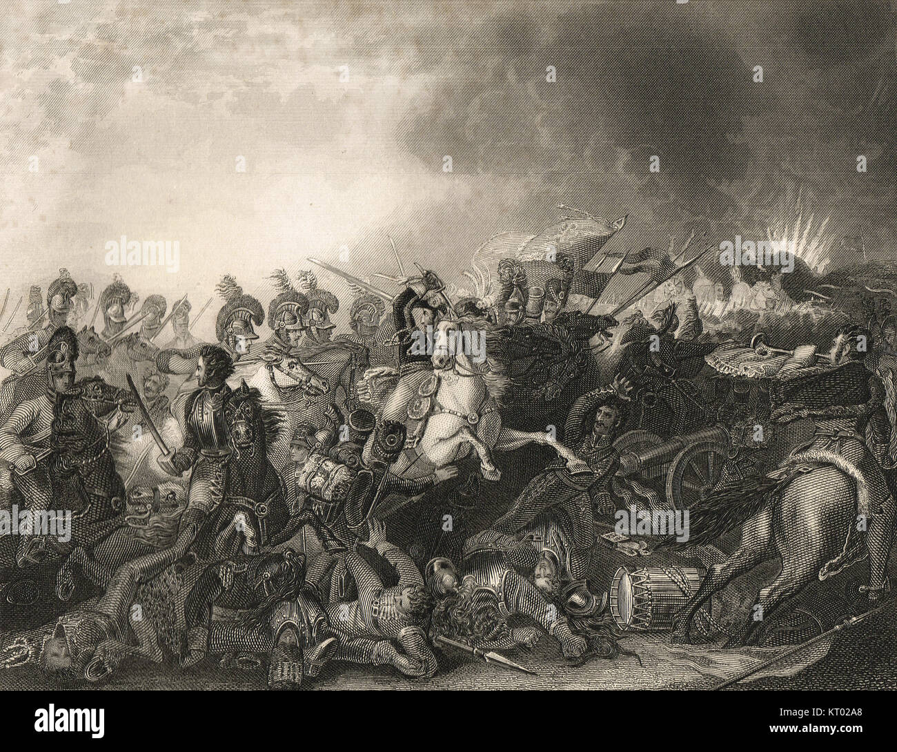 Decisive charge of the Life Guards, Battle of Waterloo, 18 June 1815 - Stock Image
