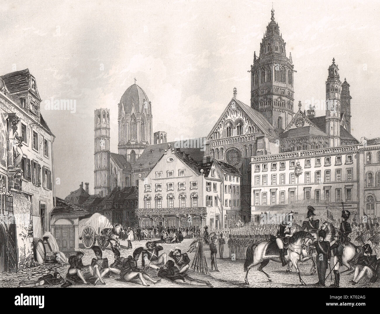 Mainz (also known as Mayence), occupied by the French on their  retreat from Leipzig, 1813 - Stock Image