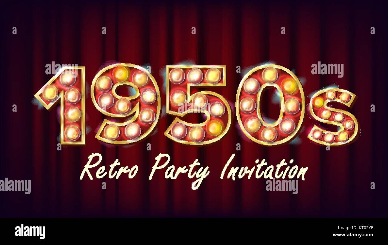 1950s retro party invitation vector 1950 style design shine lamp