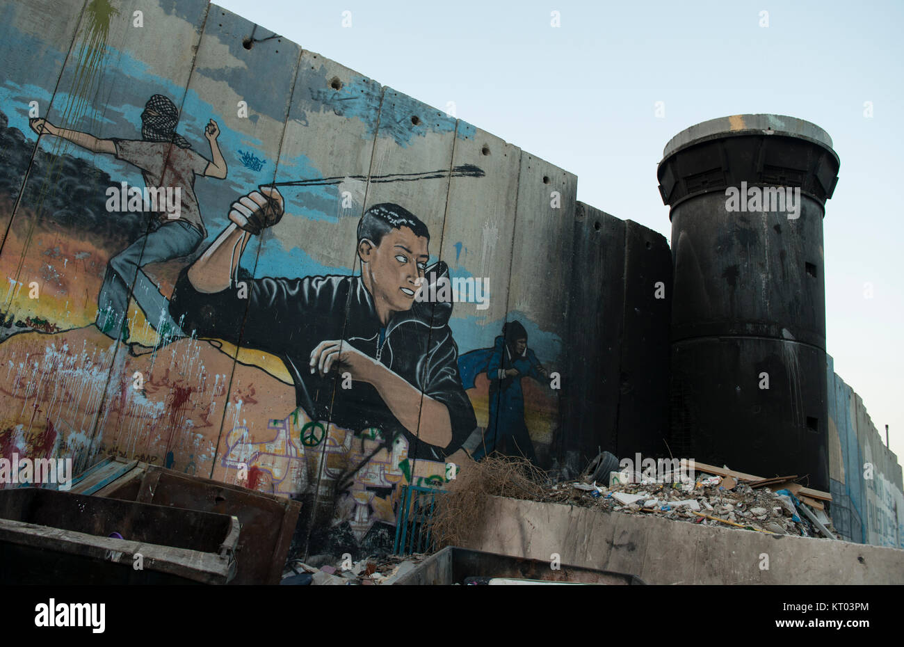 Burnt out watch tower on the West Bank Wall in the State of Palestine - Stock Image