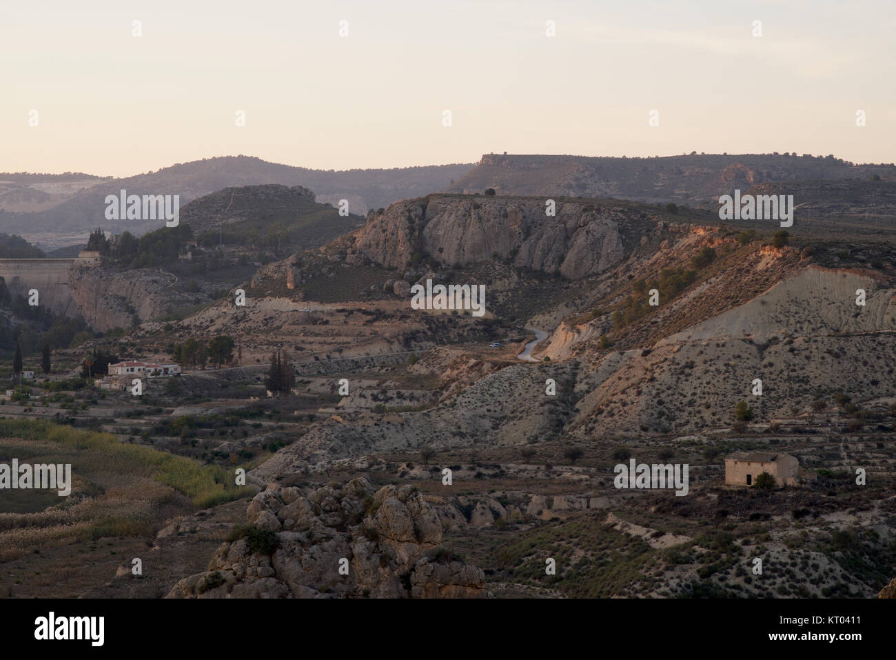 Landscape - rugged terrain at sunset - Stock Image