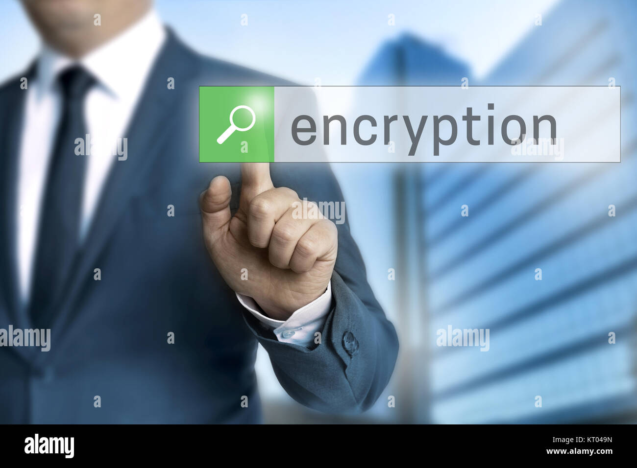 encryption browser is operated by a businessman - Stock Image