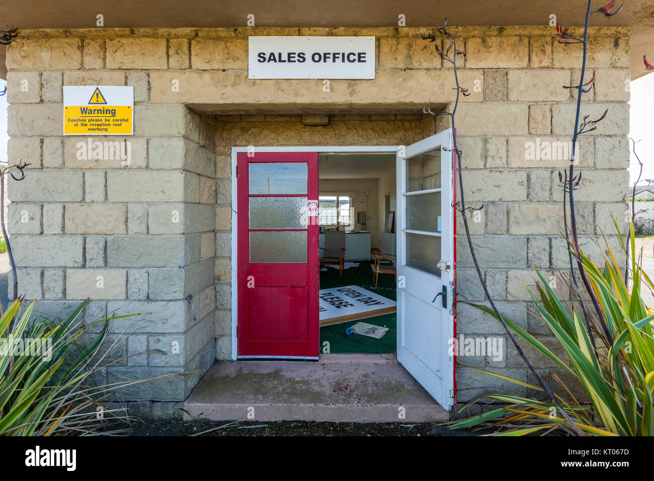 Sales Office / reception, Abandoned Holiday Camp, Isle of Wight, UK - Stock Image