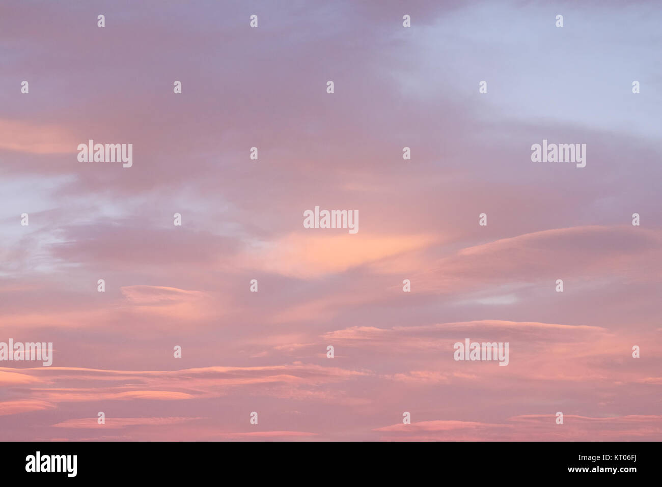 Skyscape - pink clouds at sunset - Stock Image